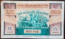 Billet de loterie nationale 1941 15e tranche - Les Gueules Cassées - 1/10