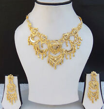 Indian Ethnic Bollywood Gold Plated UK Fashion Jewelry Necklace Earrings Set g17