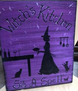 Kitchen Witch stenciled sign on wood in purple and black