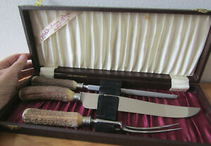 Vintage Carving Set, Kirk's Indian Stag Stainless Sheffield Cutlery, 3pc in case