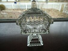 Jeannette Clear Glass Pedestal Candy Dish/Cigarette Box/Small Wedding Bowl w Lid