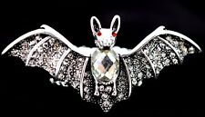 Bat Batman Stretch Ring Crystal Rhinestone Animal Jewelry Halloween Silver RA14