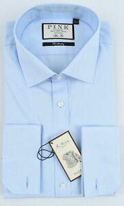 "THOMAS PINK Men's Frederick Double Cuff Slim Fit Shirt, Pale Blue collar 17.5"" L"
