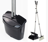 Broom and Dustpan Set Commercial Long Handle Sweep Set Black