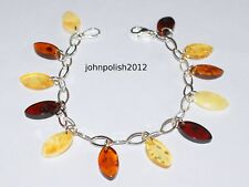 Multicolour Leaves Baltic Amber Bracelet on Silver 925
