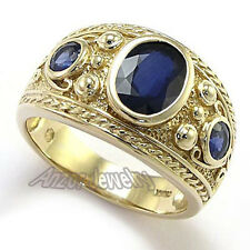 Genuine Ceylon Sapphire Men's Ring in 10k Solid Yellow Gold Size 7 to 14 #R1603