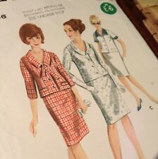 "Butterick 3621 Two-piece Dress Suit Size 16 Vintage From 1960s 36"" Bust"