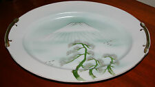 "LARGE SERVING PLATTER 14"" LONG SEA BLUE/GREEN MARKED KUTANI WITH MT. FUJI"