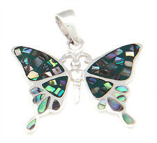 Sterling Silver Mother of Pearl Inlay Butterfly Pendant