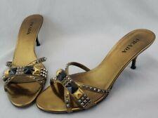 Prada Kitten Heel Slide Sandals Gold Leather Gold Black Studs Eur 40 US 9