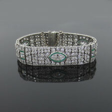 Antique Art Deco 15ct Diamond & 3.50ct Emerald Platinum Filigree Bracelet