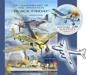 Maldives Military Aviation Stamps 2020 MNH WWII WW2 Black Friday Operation 1v SS