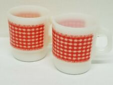 FIRE KING Red gingham checkered Stackable Mugs set Anchor Hocking