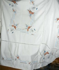Lg Embroidered Cut Work Tablecloth Flower Baskets Roses Border White Cotton T64F