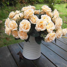 12Head Artificial Fake Rose Silk Flowers Wedding Party Bridal Bouquet Champagne