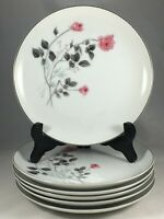 "Set of 6 Arita China Japan Pink Rose Flower 7 5/8"" Salad Plates"
