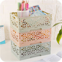 Storage Crate Box Folding Collapsible Plastic Stackable Home Kitchen Warehouse