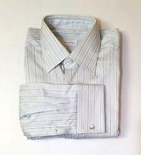 Ermenegildo Zegna White/blue Stripe French Cuff Dress Shirt Sz. EU 41/ US 16