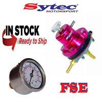 FSE Sytec Adjustable Fuel Pressure Regulator Red with Gauge 1.5-6 bar MSV001R