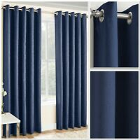 Vogue Woven Textured Blockout/Thermal Interwoven Lined Eyelet Curtains Navy
