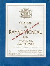 SAUTERNES 1ER GCC ETIQUETTE CHATEAU RAYNE VIGNEAU 1982§22/03/16§