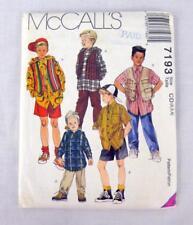McCalls 7193 Pattern UNCUT Childs Boys 90's Shirt Vest Shorts Pants Size 2-3-4