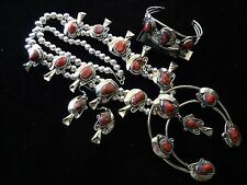 HUGE! Silver Chunky RED CORAL Squash Blossom Necklace Bracelet & Earrings SET!
