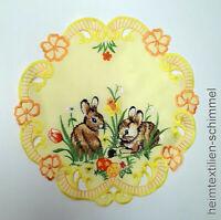 Tischdecke Wachstuch oval 140 cm Breit 1m=4,99€ Ostern Hase und Hahn