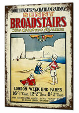 Sunny Broadstairs Railway Train Vintage Metal Sign Retro Tin Plaque