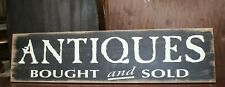 "Large ""Antiques Bought and Sold"" Store Sign - 47"" x 12"""