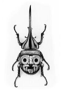 Tlaloc Aztec Beetle Art Print