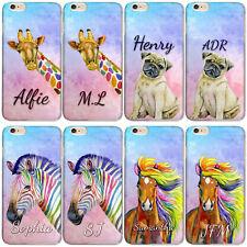 Personalised initial Phone Case, Pug/Rainbow Horse/Stripe Zebra Hard Phone Case