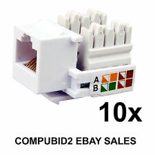 10x RJ45 KEYSTONE JACK WALL PLUG CAT5E CAT6 Ethernet LAN Network Module Adapter