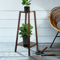 2-Tier Bamboo Plant Stand Planter Rack Flower Pots Holder Disply Rack USA