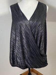 Top Black Bubble Hem V Neck Size L Gold Silvet Metallic Thread Crossover