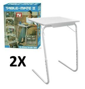 2 X EXPRESS TABLE MATE PORTABLE L SHAPE LAPTOP TRAY ADJUSTABLE FOLDING DESK