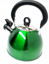 2.5L Stainless Steel Whistling Kettle Green Camping Caravanning Stove 11157C