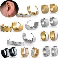 Punk Hoop Huggie Studs Cuff 2PCs Stainless Steel Men Women Earrings Gold Silver