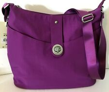 NEW BAGGALLINI Helsinki Silver HOBO Purple Nylon Crossbody Shoulder Bag Light