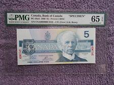 1986 $5 «SPECIMEN» Canadian Banknote BC-56aS ENA00000000 0349 PMG GEM 65 EPQ