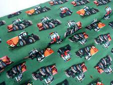 Jersey Öko Tex Stoff Traktor Kinderstoff grün rot Fahrzeuge Meterware 29195