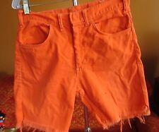 30 W True Vtg 1970s Mens Salmon Pink ALL COTTON Trashed Cutoff Hippy Shorts