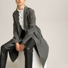 La Redoute Grey Herringbone Coat Size 12 Double Breasted Melton Belted RRP £125
