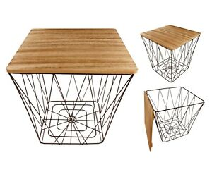 Square Table Modern Metal Wire Wood Lamp Side End Storage Decor Geometric Black