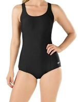 Speedo Womens Swimwear Deep Black Size 8 PowerFlex Ultraback Swimsuit $68 706
