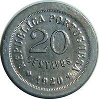Portugal 20 centavos 1920 copper-nickel AUNC km#571 T2