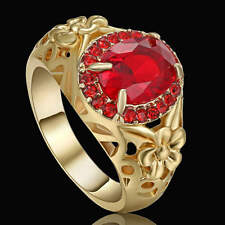 Size 9 Fashion Red Ruby Wedding Ring yellow Rhodium Plated Engagement ring