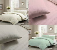 Seer Sucker Luxury Modern Poly Cotton Duvet Cover Bedding Set with Pillow Cases