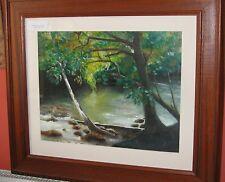 J Pink, Original Art, Goache Watercolour, River scene,