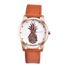 Women Pineapple Rose Gold Dial Faux Leather Fashion Ladies Analog Quartz WatchCA